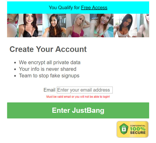 justbang signup form